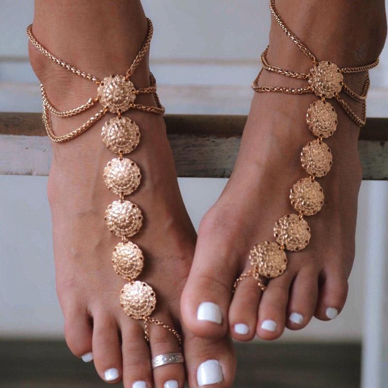 verano caliente de la nueva joyera de moda pie tobillera de metal color oro tallado bonito