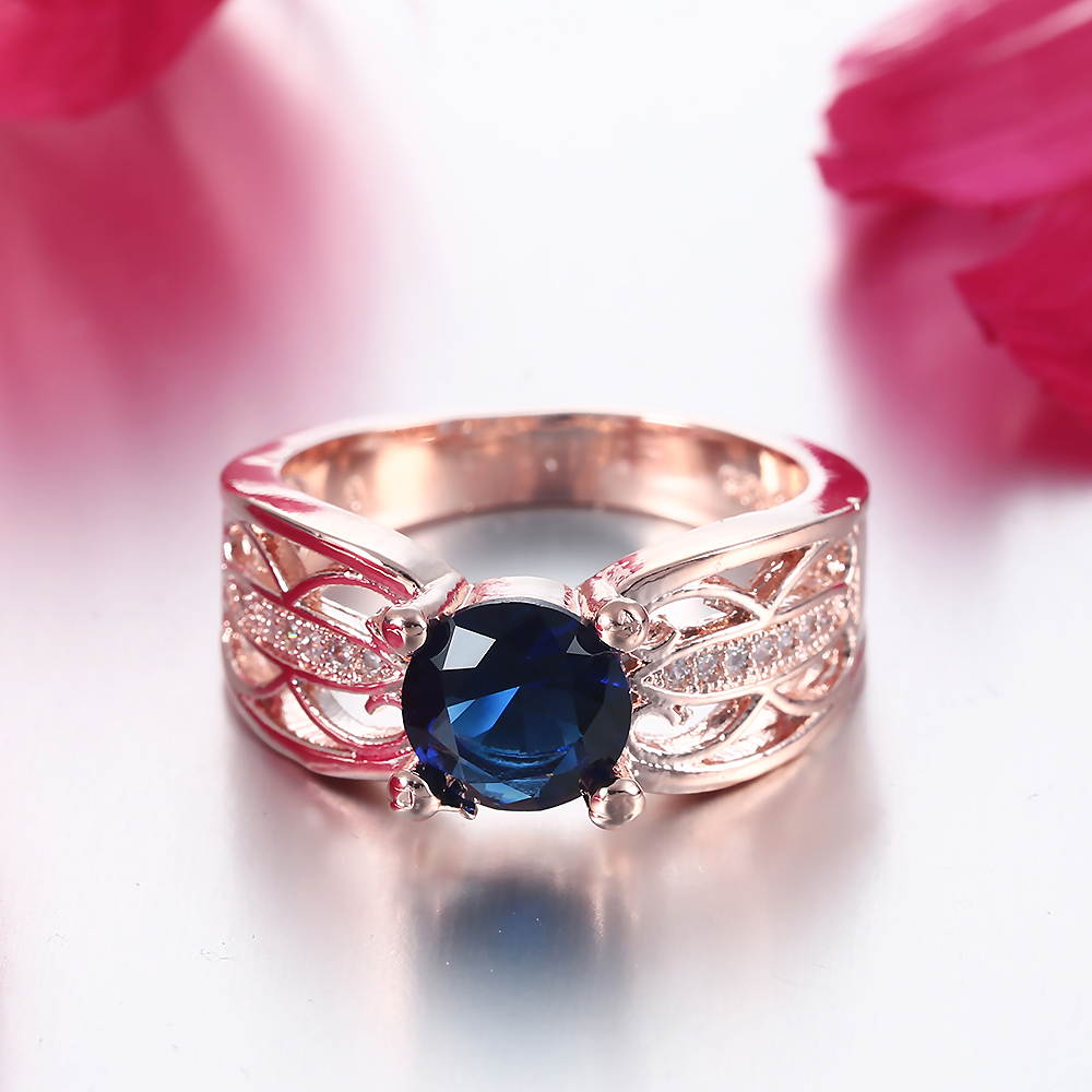 DOULAIMEI Real 925 Sterling Silver Luxury Dark Blue Crytal Proposal ...