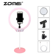 ZOMEI 10inch Selfie LED Ring Light with Stand  Camera Studio Light Ring for Smartphone with Phone Holder for Live Video Makeup