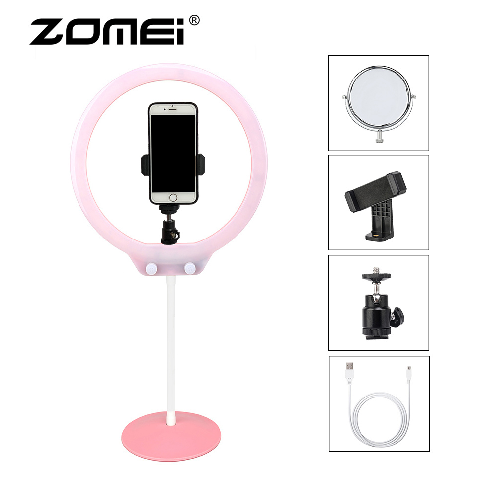 ZOMEI Mini LED Selfie anneau lumière photographique éclairage caméra téléphone vidéo Studio Flexible Table Ringlight avec support pour le maquillage