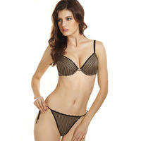 France Retro Striped Sexy Bra & Thong Set Plunge Womens Bras And Underwear Sets Tie Straps Padded Push Up Lingerie Set G string
