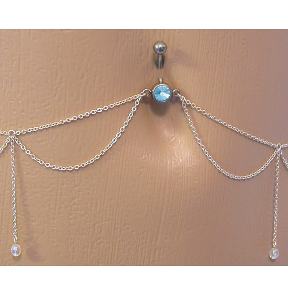 14G Crystal Tassel Navel Belly Button Ring With Waist Chain Body Piercing WFHFS