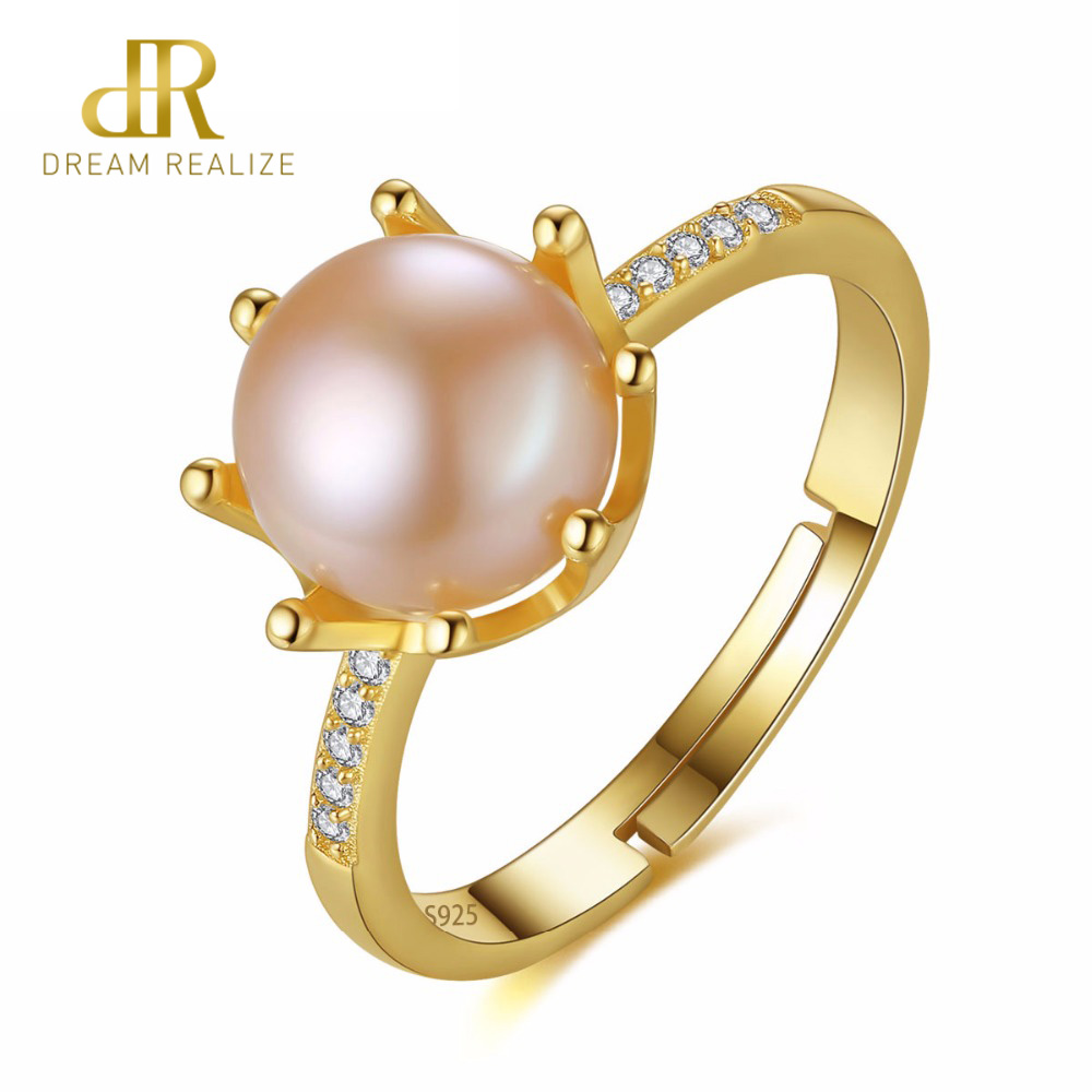 DR Crown Shape Eight Paws Natural Pearl 8-8.5mm 925 Sterling Silver Rings for Women Gift Wedding Jewelry Wholesale PriceDR Crown Shape Eight Paws Natural Pearl 8-8.5mm 925 Sterling Silver Rings for Women Gift Wedding Jewelry Wholesale Price