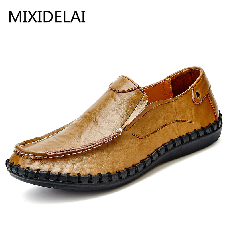 MIXIDELAI Big Size 38-47 Men Loafers Casual Shoes Men Flats Shoes Genuine Leather Italian Men Leather Shoes Mocasines Hombre cbjsho brand men shoes 2017 new genuine leather moccasins comfortable men loafers luxury men s flats men casual shoes