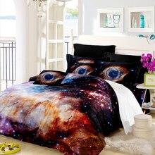 Купить с кэшбэком 3D Galaxy Bedding Set Starry Planet Print Duvet Cover Set King Queen Bedding Cover Colorful Bedclothes Pillowcase Home Decor D40