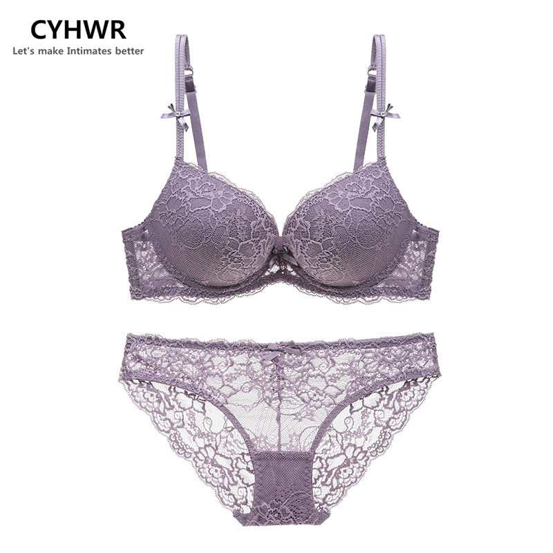 CYHWR Sexy Lace   Bra     Set   Push up Women's Underwear   Set   Padded   Bra   Plunge Luxury Lingerie Embroidery Floral Intimates Brassieres