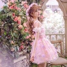 Милое платье принцессы в стиле Лолиты; эксклюзивный дизайн; летнее шифоновое платье с принтом в виде пирожных и бабочек для девочек; C16AB6052