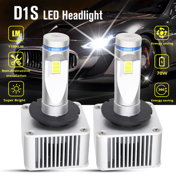 2pcs 70W D1S D2S D3S D4S LED Car Headlight Bulbs 11000LM 6500K White Waterproof Auto Front Headlamp Driving Fog Lights DC 8-48V