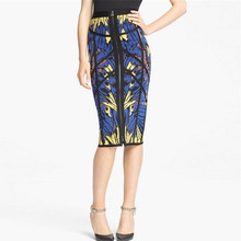 Hot Sell Fashion High Quality Blue Yellow Print Bandage Knee Length Skirt Evening Party Bodycon Skirt