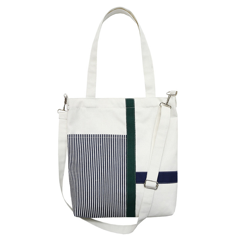 KANDRA Reusable Canvas Tote Bag For Shopping Stripped Patchwork Fabric Durable Grocery Shoulder Bag Light Roomy Linen Tote Bag