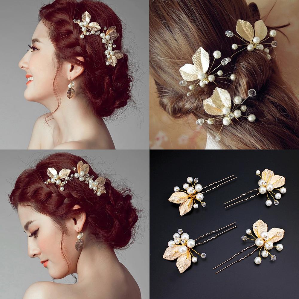 Fashion Women/'s Rhinestone Pearls Petal Comb Flower Hair Pin Hair Clip Hairpin