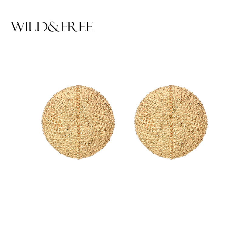 Wild&Free New Design Round Irregular Stud Earrings Jewelry Simple Indian Women Girl Summer Style Gold Earring Ear Studs Gift
