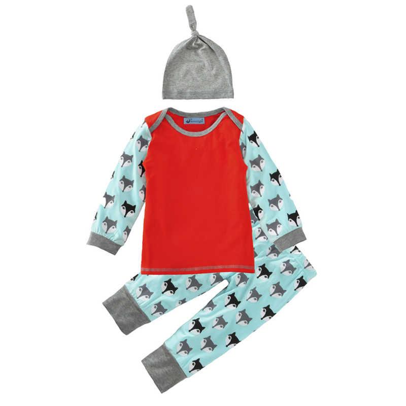 Bebê Roupas Menina Set 2017 Animal Dos Desenhos Animados Imprimir camiseta + Calça + Chapéu 3 pcs Bebê Da Menina do Menino Definir Marca primavera Recém-nascidos Roupa Do Natal