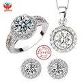 GALAXY Brand 925 Sterling Silver Wedding Dress Jewelry Sets Luxury CZ Diamond Pendant Necklace Earrings Ring Set For Women YS013