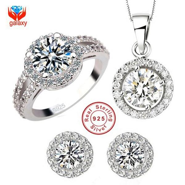 9b4596222 YHAMNI Brand 925 Sterling Silver Wedding Dress Jewelry Sets Luxury CZ  Diamant Pendant Necklace Earrings Ring Set For Women YS013