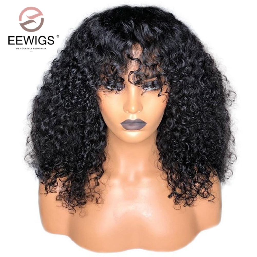 EEWIGS Short Kinky Curly Hair Wigs With Full Bangs High Temperature Fiber Glueless Synthetic Lace Front Wigs 180 Density Bob Wig