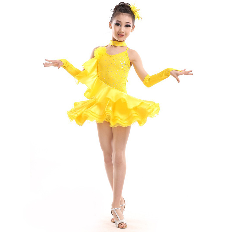 new arrival latin dance dress kids girls training costume
