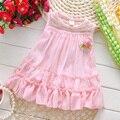 2016 moda verão sem mangas Lace Bow bonito do bebê festa de aniversário meninas crianças crianças vestidos, Princesa infantil vestido