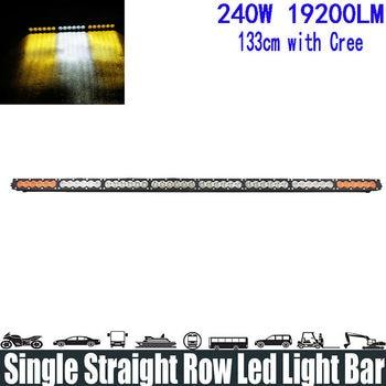 "240W 50"" White Amber Yellow Single Row Led Light Bar Spot/Flood/Combo Beam Super Bright Led Light Bar Running Lights Headlight"