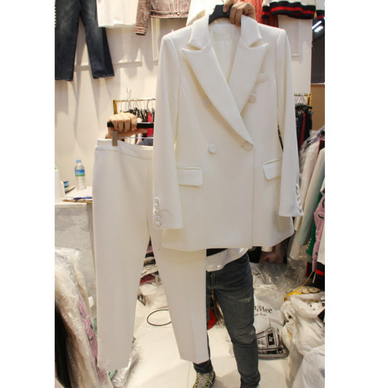 Suit Two-piece Female 2019 Spring New Women's Korean Professional Solid Color Suit Jacket Slim Nine Pants Suit