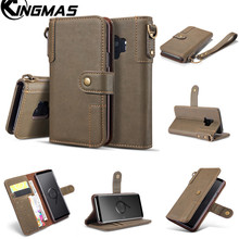 Leather wallet phone case for Samsung S6 S7 edge S8 S9 PLUS Note 8 Note 9 phone panel bracket bank card slot portable flip
