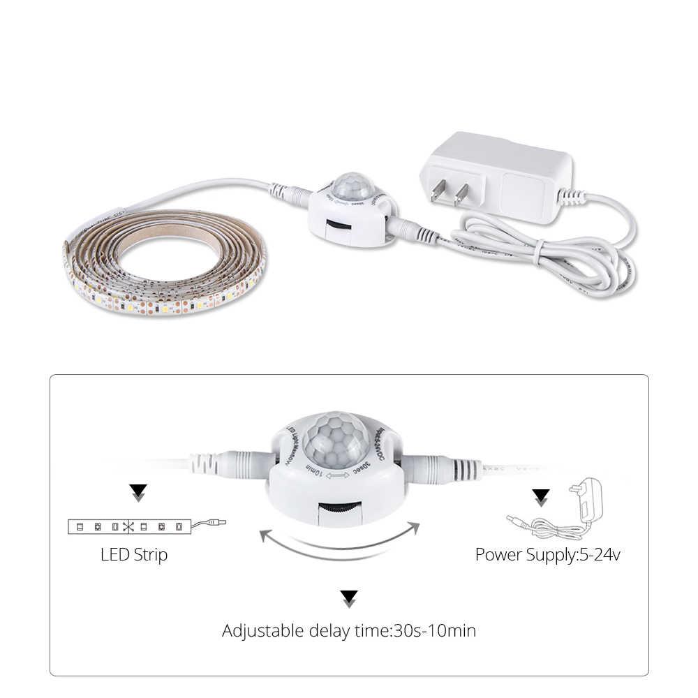 1 m 2 m 3 m 4 m 5 m LED bajo la luz del Gabinete PIR Sensor de movimiento apagado inteligente/ en 12 V 60 LEDs/m 2835 LED diodo cinta lámpara dormitorio iluminación