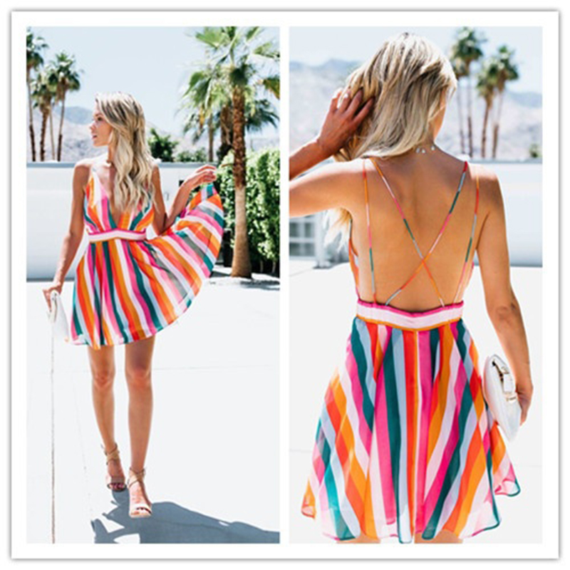 <font><b>2018</b></font> <font><b>Sexy</b></font> Ladies <font><b>Dress</b></font> <font><b>Women</b></font> V Neck Stripe Mini <font><b>Dress</b></font> Casual Beach <font><b>Boho</b></font> <font><b>Summer</b></font> <font><b>Dresses</b></font> Sleeveless <font><b>Women</b></font> Party Sundress image