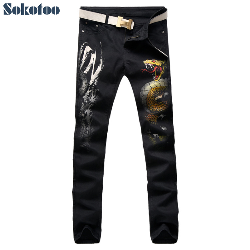 Sokotoo Men's colored painted snake 3D print   jeans   Fashion black slim stretch denim pants