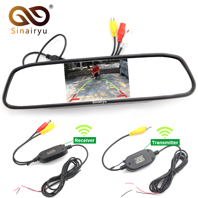 Sinairyu 4 3 Inch Car Rearview Mirror Monitor 2 4Ghz Wireless Video Transmitter and Receiver Kit