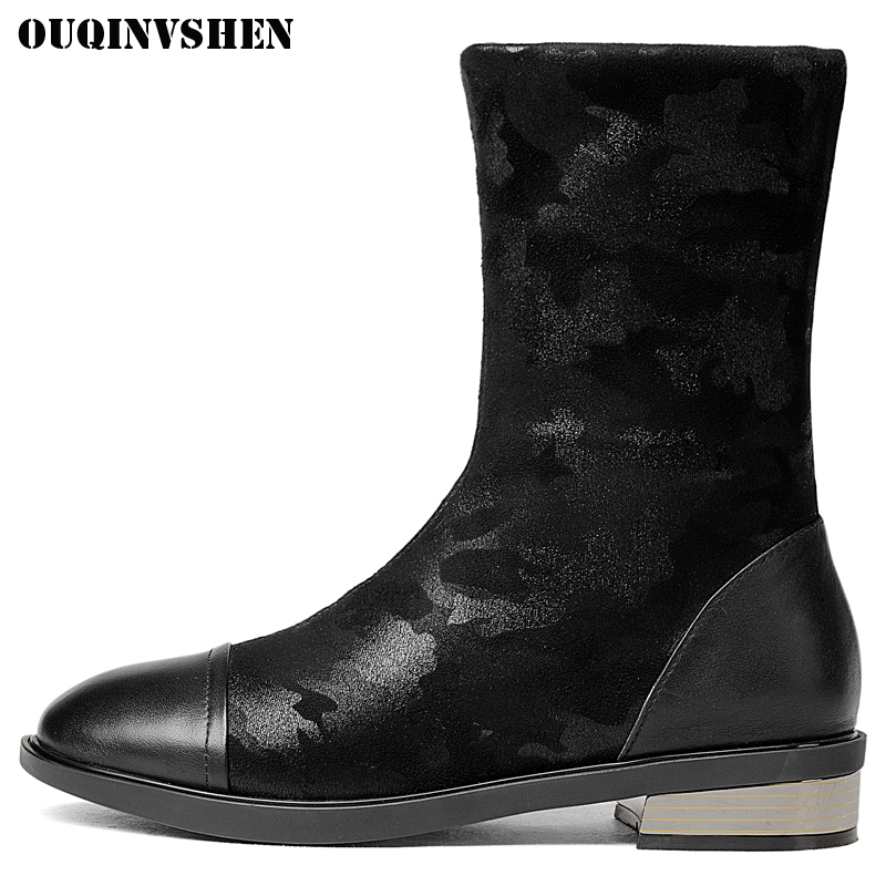 OUQINVSHEN Round Toe Flat With Womens Snow Boots Short Plush Ladies Boots 2017 New Winter Casual Fashion Women Snow Boots