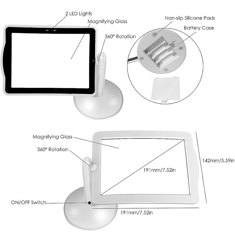 Handsfree 3X Reading Full-page Magnifier 2LED Magnifying Loupe Glass Magnifier Desktop Lamp New