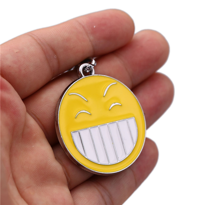 Smiley Face Symbol Key Chain Charming Bright Yellow Smile Sign