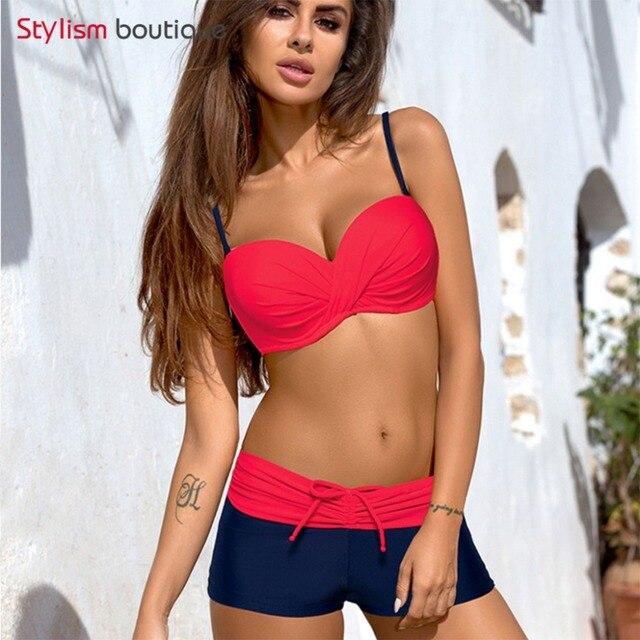 835c8557d1 2018 Sport Bikini Push Up Swimwear Women Swimsuit Plus Size Swimwear Solid  Patchwork Shorts Two-Pieces Swimming Bathing Suits