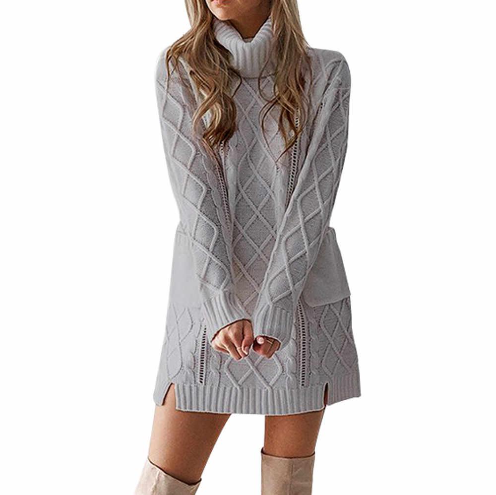 JAYCOSIN 2018 ドレス女性の冬のセーターニットタートルネック暖かい長袖ポケットセクシーなミニドレスファッションエレガントなカジュアルドレス