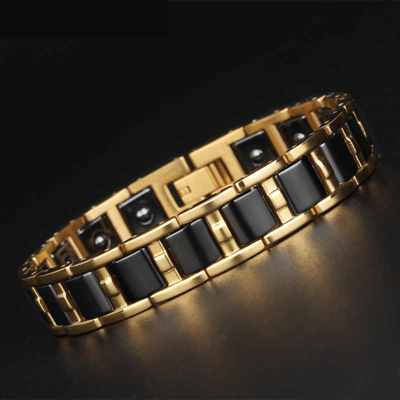 TrustyLan Healthy Balance Magnetic Man Bracelet Shiny Gold Color Steel Bracelets For Women Black/White Ceramic Armband Jewelry