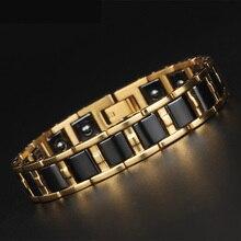 TrustyLan Gesunde Balance Magnet Mann Armband Shiny Gold Farbe Stahl Armbänder Für Frauen Schwarz/Weiß Keramik Armband Schmuck