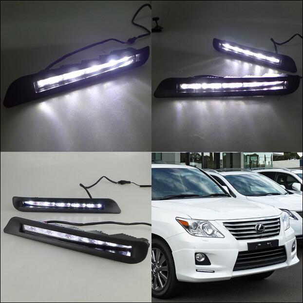 ФОТО Hireno Super-bright LED Daytime Running Light for Lexus LX570 LX460 2012 2013 Car LED DRL fog lamp 2PCS