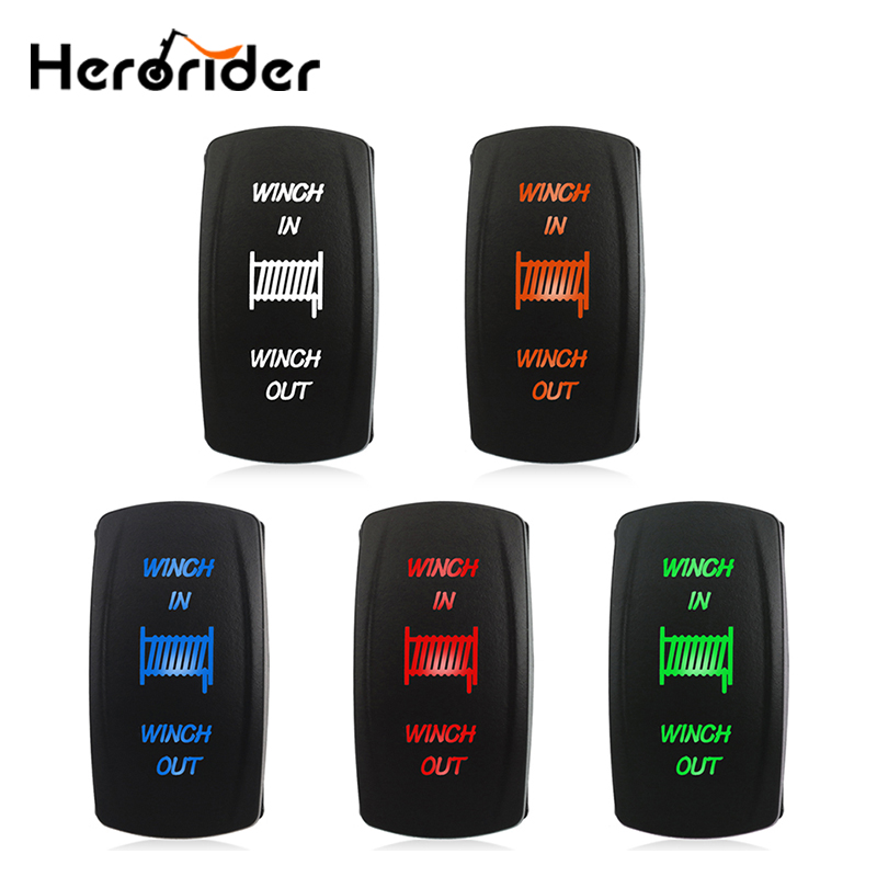 12V 24V Winch In Winch Out Rocker Switch (ON) -OFF- (ON) 7 Pin Laser Led Blue Red Green Momentary Rocker Toggle Switch