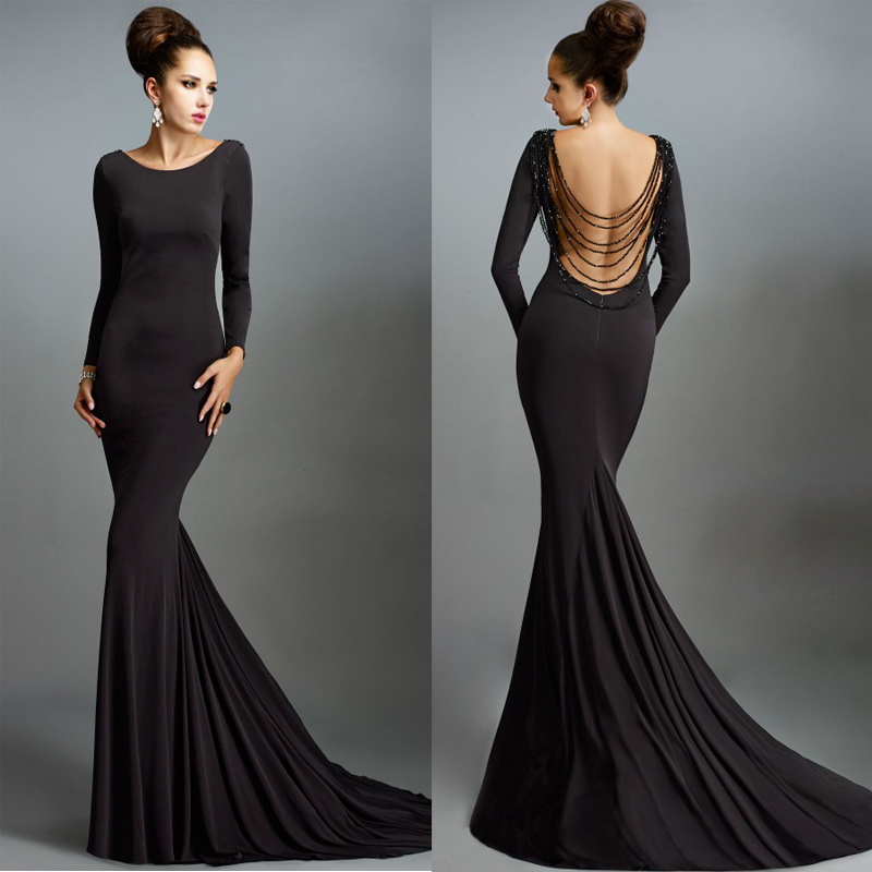 Buy Simple Long Black Prom Dresses Long