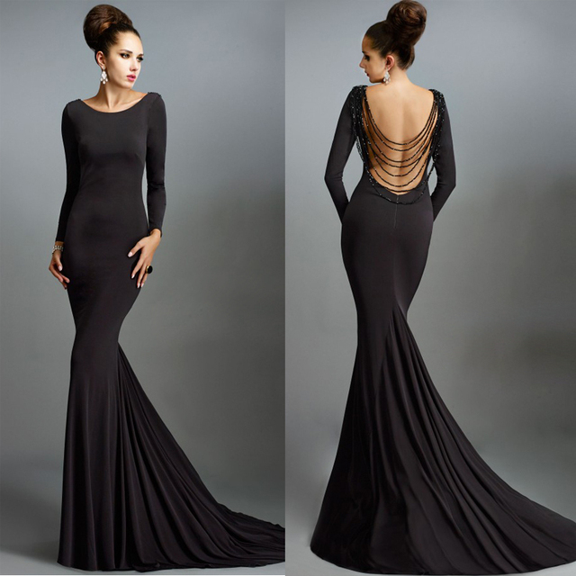 Simple Long Black Prom Dresses Long Sleeve Backless Mermaid Evening ...
