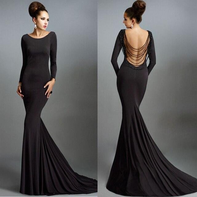 e6ecbb2e6 Simples preto vestidos manga comprida Backless sereia vestidos de noite  Formal Vestido de Formatura Longo Plus