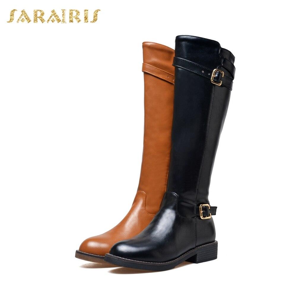 e3f2d3b616142 Bottes Boucles D équitation Mode Femme Dropship marron Sarairis Femmes  Chaussures Grande haute Genou Taille 43 32 Noir WAPxCSq8wC