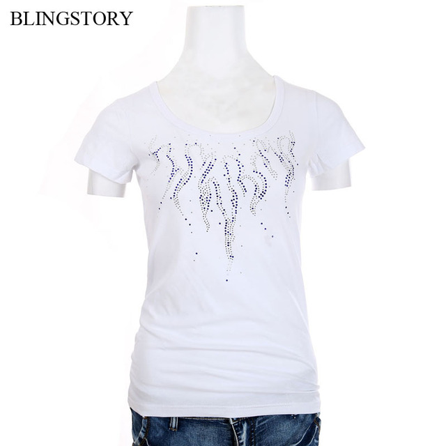 2fe7c676e28 BLINGSTORY High Quality Women s V-Neck Fashion Diamonds T-shirts Plus Size  Flower Bead Tops Tee S-6XL Dropshipping LP520T039A