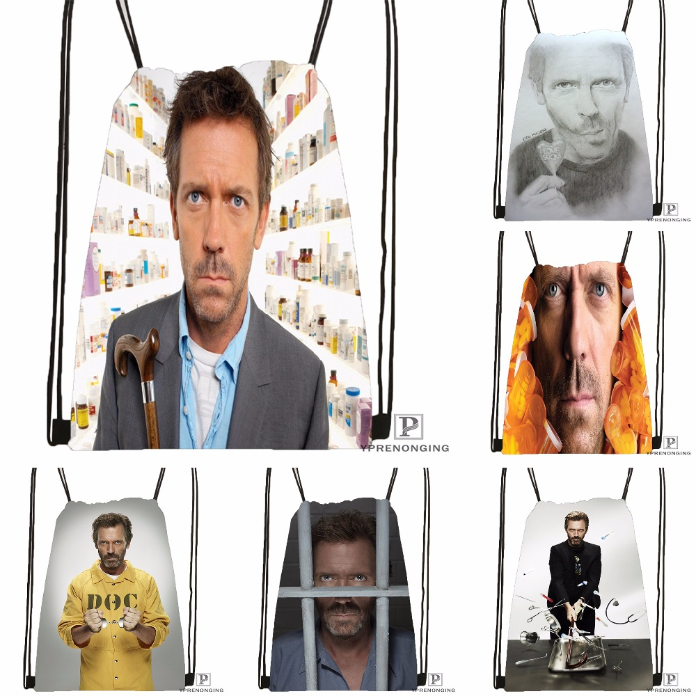 Custom HD Hugh Laurie Drawstring Backpack Bag For Man Woman Cute Daypack Kids Satchel (Black Back) 31x40cm#180531-01-19