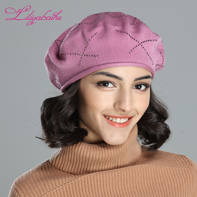 LILIYABAIHE trendy solid color new style lady hat stretchable cotton knitted  wome beret cap with diamante checked decora 3ecb0c1538c