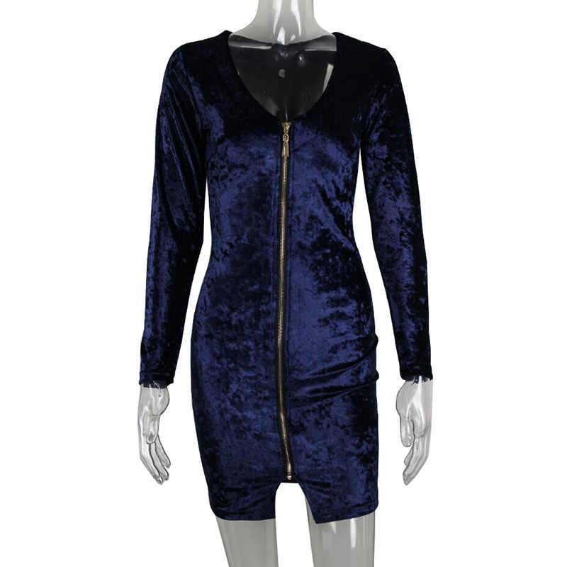 0ea6b2e8014 ... 2017 новое женское сексуальное бархатное платье на молнии с длинным  рукавом сексуальное черное платье Клубная вечерние