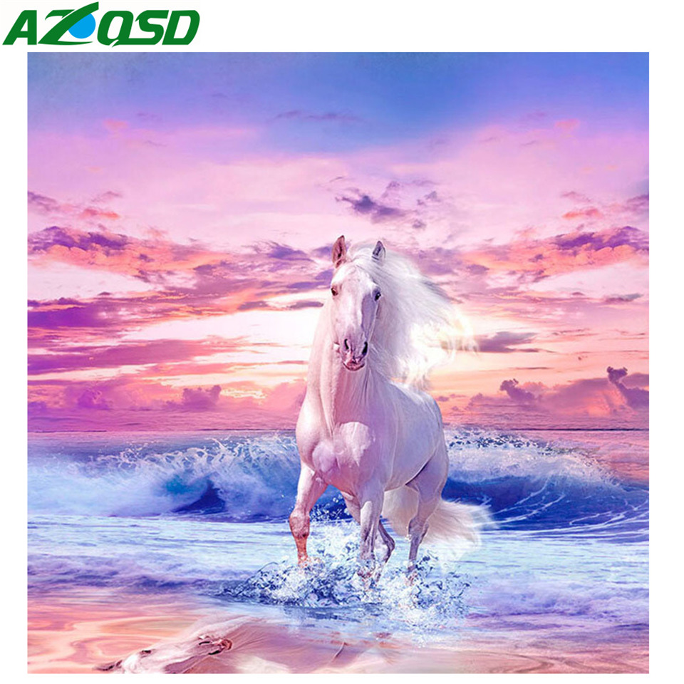AZQSD 5d Diamond Embroidery Horse Painting Scenery Rhinestones Pictures Cross Stitch Homr Decoration Crystal