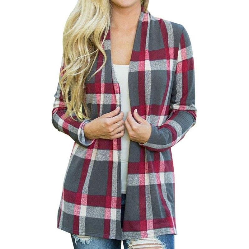 Plaid Jacket Outwear Cardigan Basic-Coats Spring Thin Female Gothic Plus-Size Women Casual