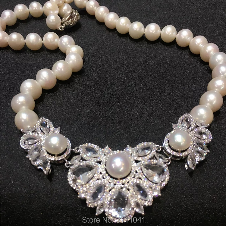 freshwater pearl white near round 10-11mm and white quartz flower necklace 18inch FPPJ wholesale beads nature freshwater pearl white near round and red jade leopard clasp necklace 18inch fppj wholesale beads nature
