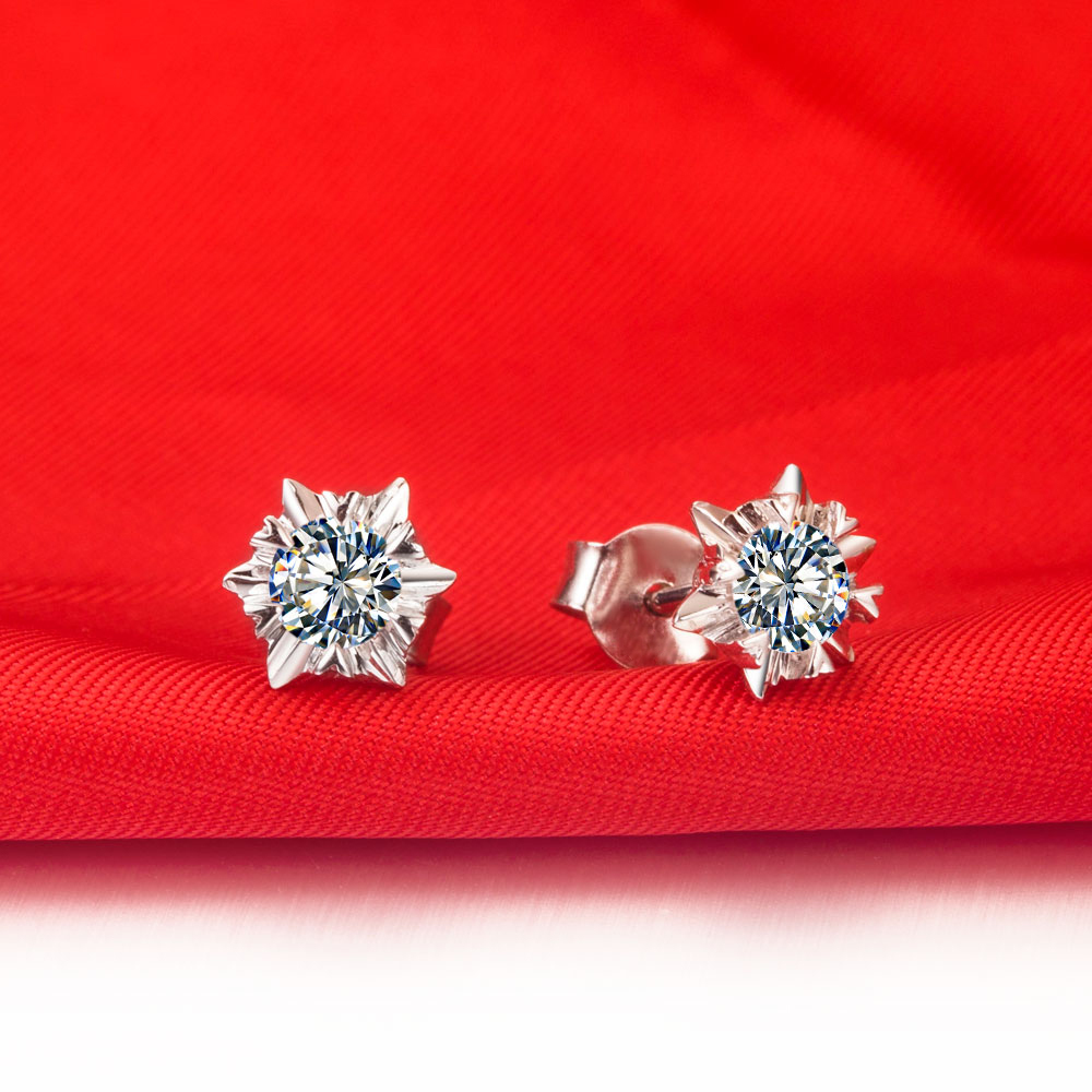 Au585 Jewelry G14k Snowflake Earrings 0 5ct Piece Solitaire Stud Female White Gold Engagement In From Accessories